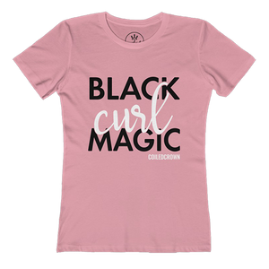 Black Curl Magic - Coiled Crown Curly Hair Shirt