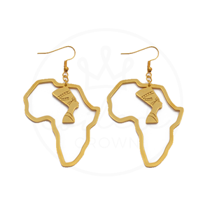 Queen of Africa Gold Hoop Earrings - Africa Shaped Earrings