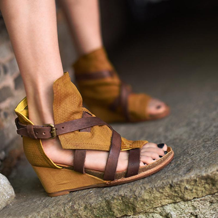 Wedge Heel Yellow Daily Leather Summer Sandals