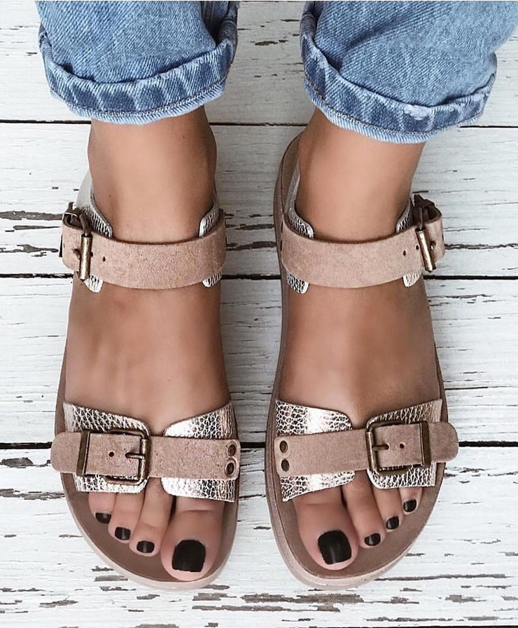 Women Golden Comfy All Season Buckle Flat Sandals