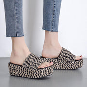 Women Slide Wedge Heel Summer Microfiber Leather Sandals