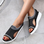 Women Breathable Slip-on Woven Mesh Athletic Sandals