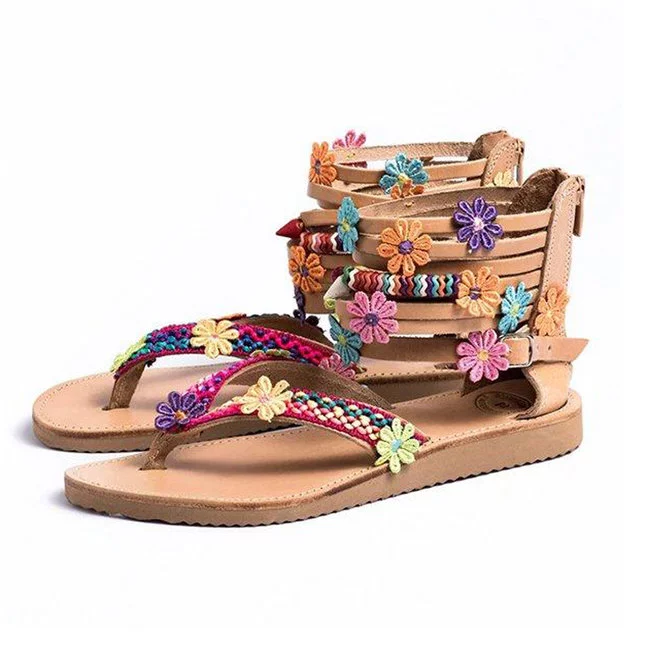 Ethnic Bohemian African flower design flat sandals