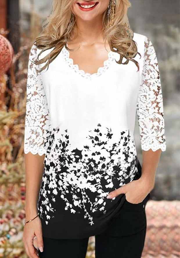Casual V Neck Lace Half Sleeves Blouse