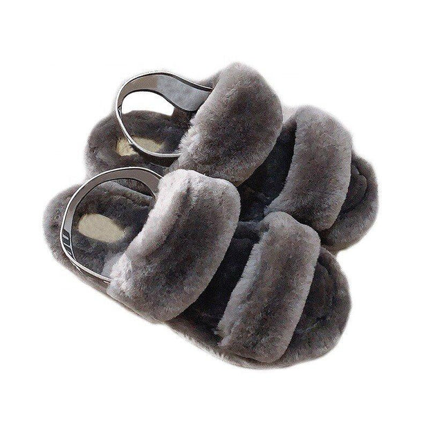 Faux Fur Flat Heel All Season Sandals