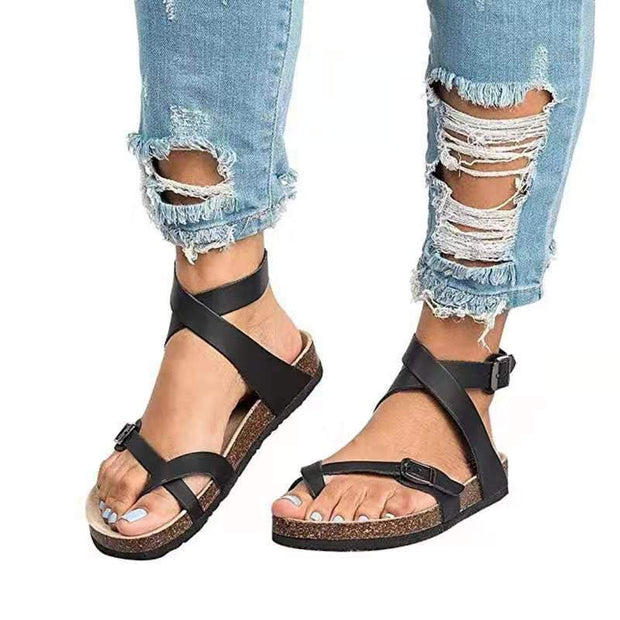Pi Clue Holiday Artificial Leather Summer Flat Heel Sandals