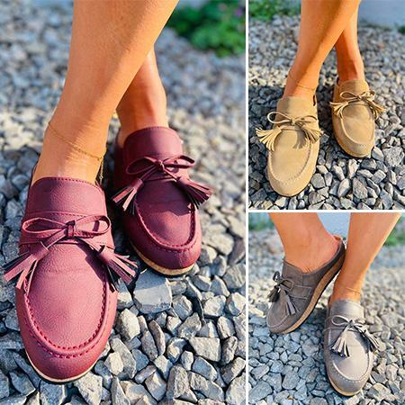 Bowknot Comfy Clogs Suede Leather Slip On Sandals