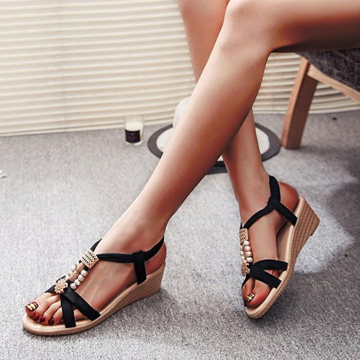 Pi Clue Block Heel Artificial Leather Imitation Pearl Summer Sandals