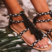 Pi Clue Black Artificial Leather Summer Tassel Dress Flat Heel Sandals
