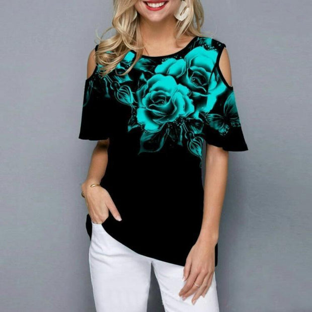 New Summer Women Floral Print Tee