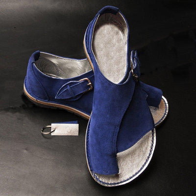 Women Fashion Buckle Suede Summer Flat Sandals