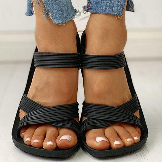 Women Casual Summer Open Toe Comfy Slip On Sandals
