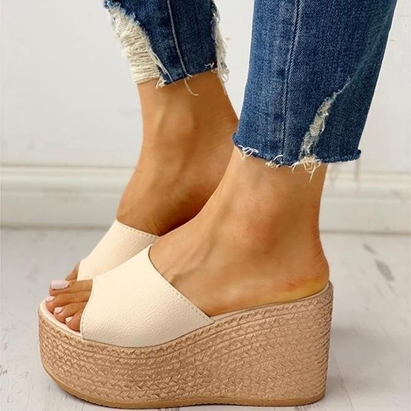 Women Fashion  Thick Heel Open Toe Platform  Wedges Sandals