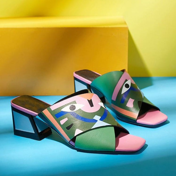 Pu Chunky Heel Daily Sandals