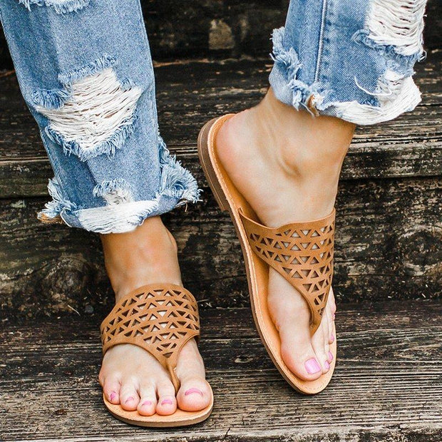 Cut Out Flat Heel Summer Casual Sandals