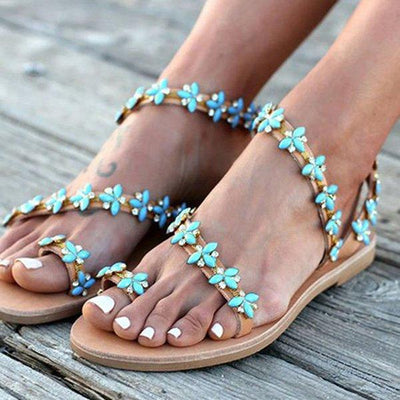 Summer Handmade Cute Beach Flat Sandals PU Rhinestone Slip On Sandals