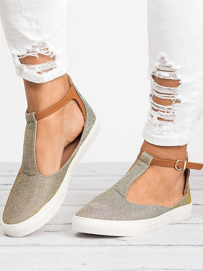 Women Spring Ankle Boots Cut Out Casual Strap Buckle Flats