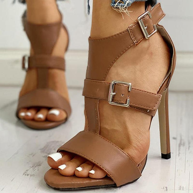 Brown Artificial Leather Seaside Buckle Summer Sandals