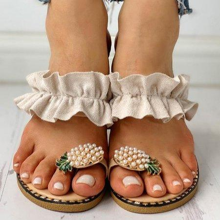 Pineapple Rhinestone Ruffles Flat Heel Slipper Slide Sandals