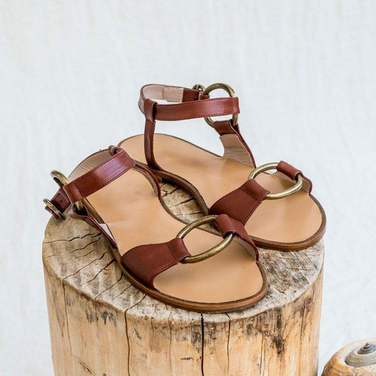 Artificial Leather Adjustable Buckle Flat Heel Sandals