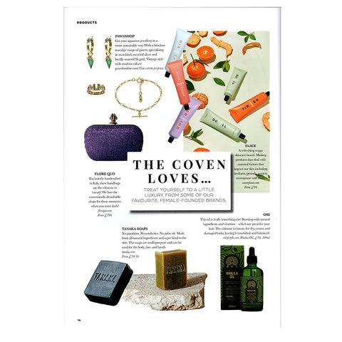 FLORE QUO clutch bag featured on The Coven loves page