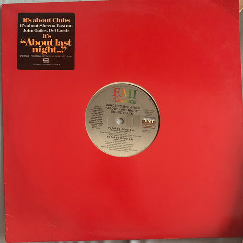 "About Last Night - Remix 12"" LP PROMOTIONAL sampler : Sheena Easton, John Oates, Del Lords"