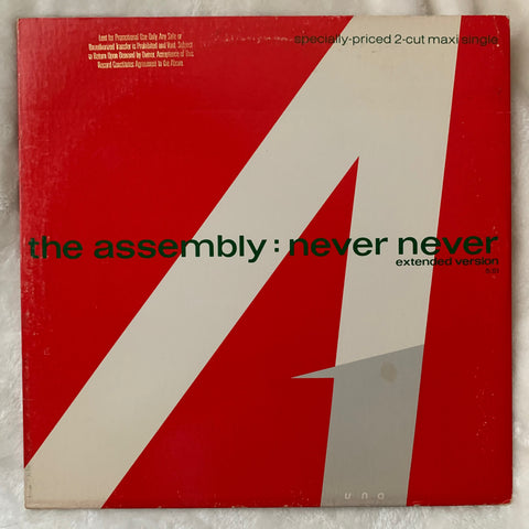 "The Assembly (Vince Clark)  - NEVER NEVER 12"" Promotional LP Vinyl - used"