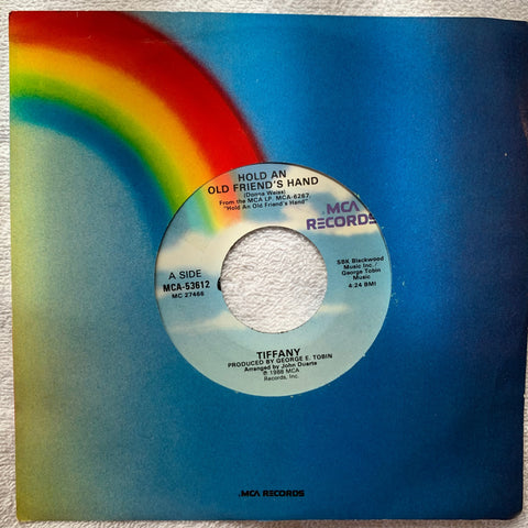 "Tiffany -- 45 record  Hold An Old Friends Hand / Ruthless =  7"" vinyl"