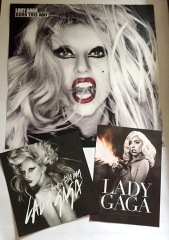 Lady GaGa - Born This Way Promo Lot - Window decal print + 2 postcards