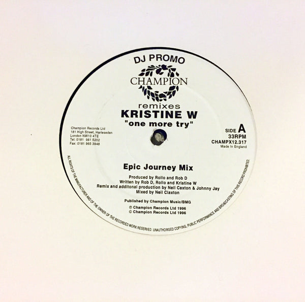 "Kristine W.  - One More Try 12"" IMPORT UK Vinyl"