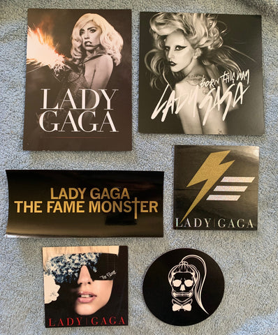 Lady GaGa - 6 official promotional 3 stickers / 3 promo cards