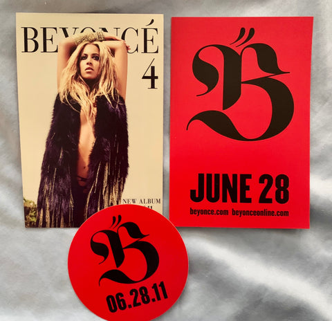 Beyonce - 3 promos:  2 postcards + 1 sticker