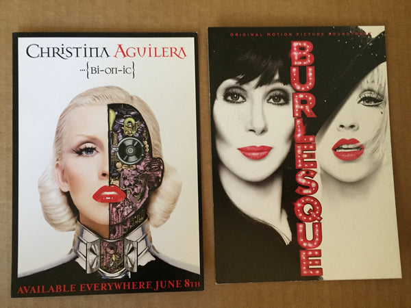 Christina Aguilera - 2 Promotional 5x7 cards Bi-On-Ic, Burlesque