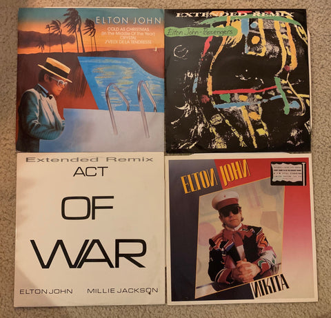 "Elton John - 4 LP Lot - 12"" remix vinyls: Passengers, Nikita, Act of War, Cold as Christmas"