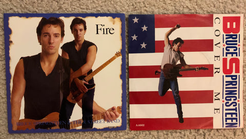 Bruce Springsteen - 2 original IMPORT 45 records : Cover Me. Fire