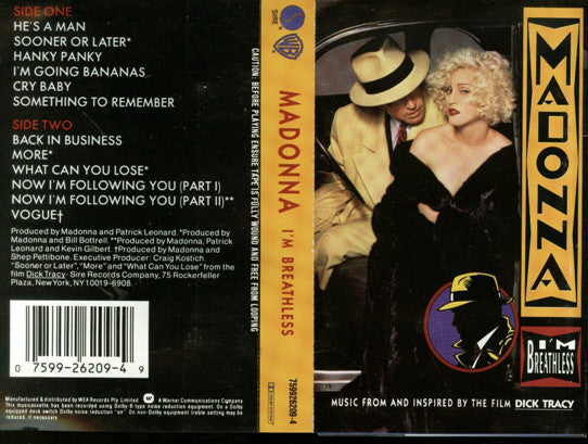 MADONNA - I'm Breathless (Music from & Inspired By the film Dick Tracy) - USED Cassette