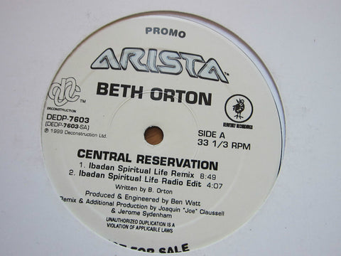 "Beth Ort0n - Central Reservation (PROMO 12"") Lp vinyl - remixes"