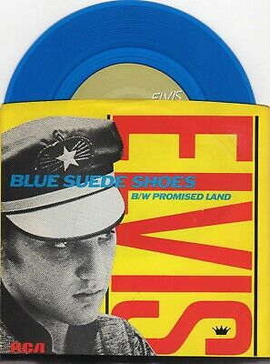 Elvis Presley - Blue Suede Shoes / Promise Land BLUE Vinyl 45 record
