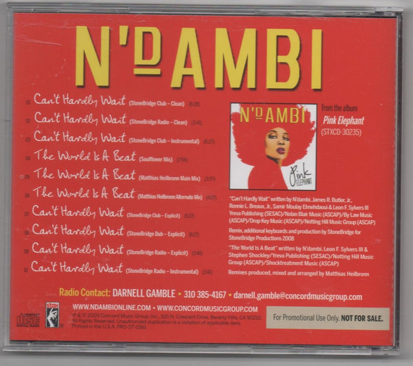 N'dambi - can't hardly wait / the world is a beat CD remix single