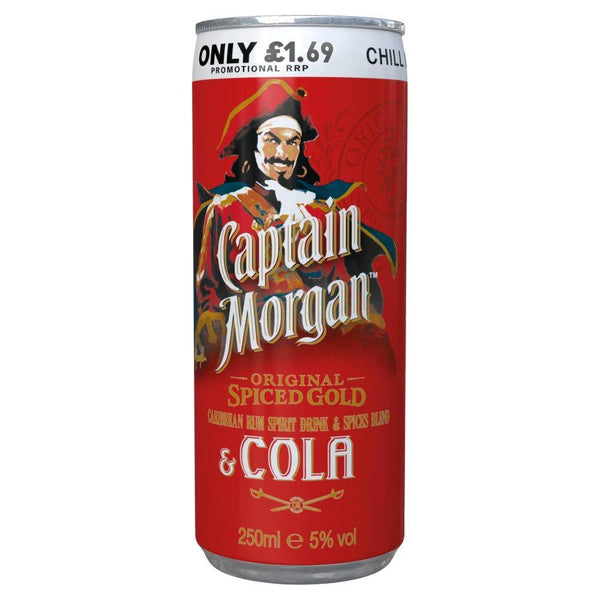 Captain Morgan Original Spiced & Cola 250ml Can-RTD's (Ready To Drink)-Fountainhall Wines
