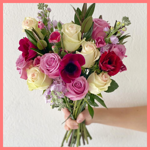 Order The Barbara flower bouquet from our Mother's Day Collection! The Barbara bouquets includes mixed stems of roses, anemone, stock, solomio, veronica, and hebes greens. The flowers will be shipped directly from the farm to you!