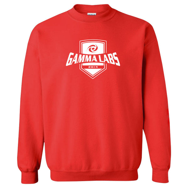 Gamma Labs Crest Crewneck - Wht on Red