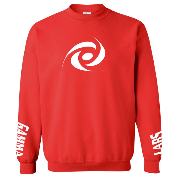 Gamma Labs Icon Crewneck - Wht on Red