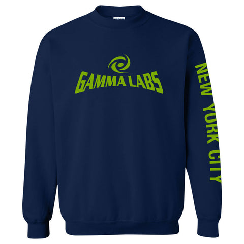 Gamma Labs Logo NYC Crewneck - AGrn on Nvy