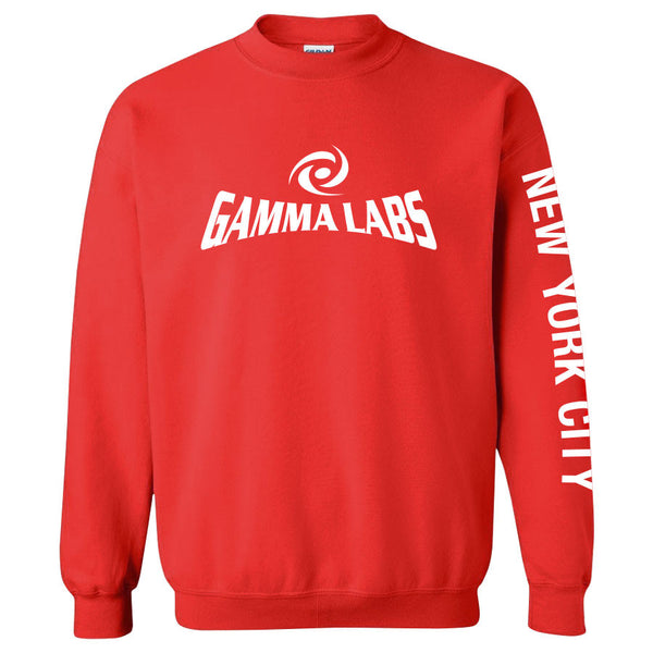 Gamma Labs Logo NYC Crewneck - Wht on Red