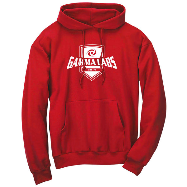 Gamma Labs Crest Hoodie - Wht on Red