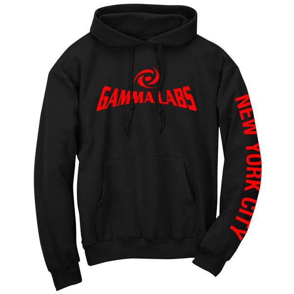 Gamma Labs Logo NYC Hoodie - Red on Blk
