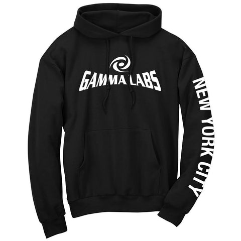 Gamma Labs Logo NYC Hoodie - Wht on Blk