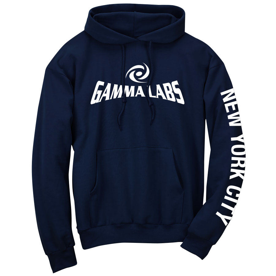 Gamma Labs Logo NYC Hoodie - Wht on Nvy
