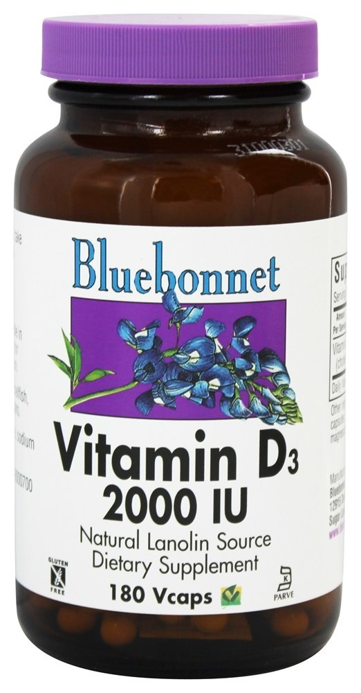 Bluebonnet Vitamin D 2000 IU 180 Vegetable Caps